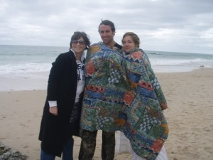 Me and two of my Cora Villa characters after we'd dipped them in the freezing ocean.